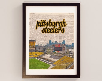 Pittsburgh Steelers Dictionary Art Print - Heinz Field - Print on Vintage Dictionary Paper - Football Art - Gift For Him