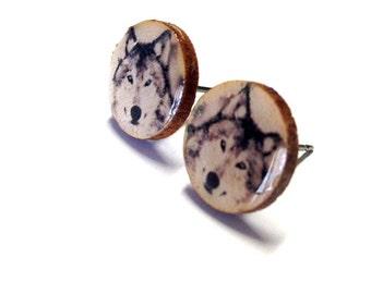 Wolf Earring Studs, Wood Earrings, Wood Studs, Wolf Studs, Wooden Wolf Studs, Wolf Wood Studs