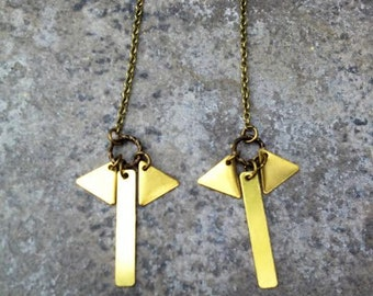 METRIC // Petite Bar and Triangle Pendants Attached to Antique Bronze Ear Wires // Boho Minimalist Hipster
