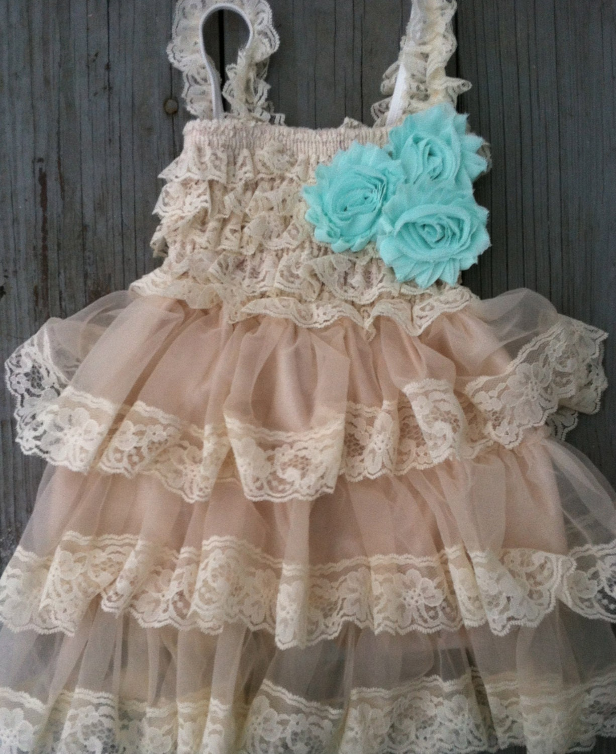 Rustic Flower Girl Lace Pettidress/Rustic By CountryCoutureCo