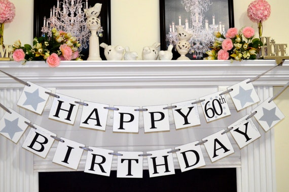 Happy 60th birthday banner happy birthday banner party for 60th birthday decoration ideas