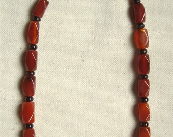 handmade necklace based on a late Roman example / carnelian & garnet