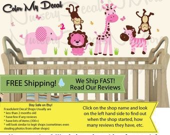 Mini Jungle Decals, Wall Decals, Monkeys, Elephant, Pink Girl (Mini SG Animals Only Jungle Girl) SGM