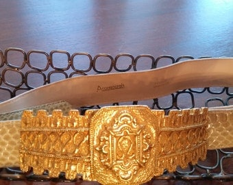 1980s Accessocraft NYC Ivory Snakeskin Belt and Gold Buckle