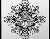 Decorative Floral Crest.  Wall / Art / Craft / Painting / Makeup / Furniture / Tattoo / Overlay Airbrush Stencil.