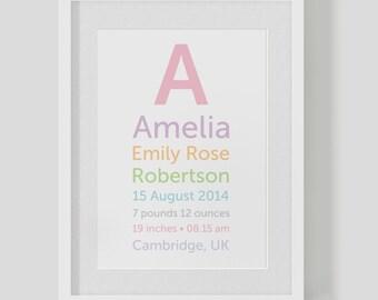 Personalised birth announcement baby girl — Christening name monogram print / poster — Nursery Art — FREE WORLDWIDE SHIPPING