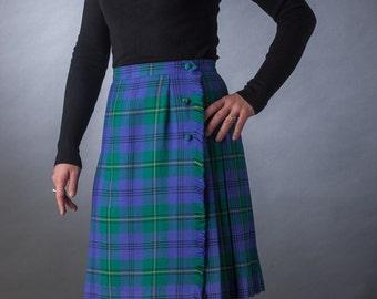 Vtg 70s Blue, Green, Yellow & Black Plaid Wool Pleated Midi Skirt