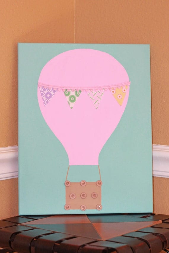 Hot Air Balloon with Pennant Flag - Hand Painted 11x14 Canvas