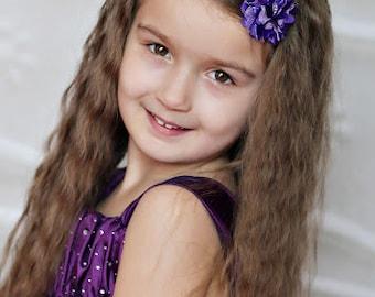Purple Flower Headband, Purple Tulle Flower Headband, Purple Mini Headband, Baby Headband, Toddler Headband, Skinny Headband