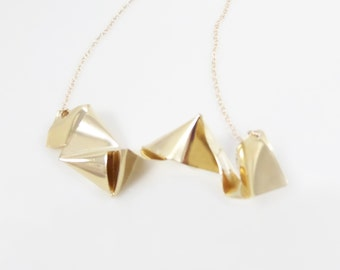 Origami Gold Pendant, Hand-Made One Of A Kind, Statement Necklace,Folded Gold Necklace.