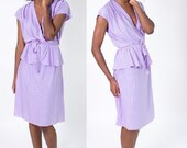 Moving SALE! Vintage 1980's Light Purple Striped Day Dress / Peplum Skirt / Tie Front / Size Large / 1940's Style