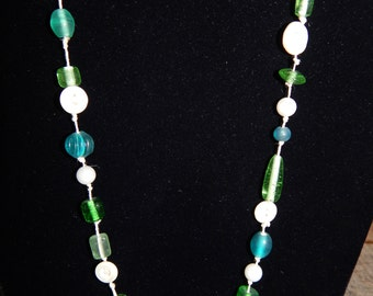 """Vintage Button and """"Sea Glass"""" beaded necklace"""