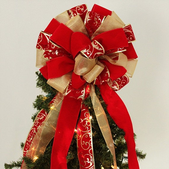 Christmas Tree Bows Decorations: Items Similar To Large Red Velvet Gold Mesh Lame Christmas