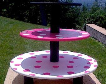 Adorable - Pink Polka Dot - Cupcake Stand - 3 tier - Custom Painted