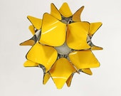 Yellow lampshade. Unique chandelier lighting with glossy light reflective inner layer. Geometric sphere lamp in more colours.