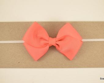 Coral Baby Bow - Coral Headband - Toddler Headband - Adult Headband - Baby Girl Headband - Peach Baby Bow - Baby Headband - Grosgrain Bow