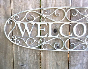 Welcome Sign, Metal Welcome Sign, Metal Sign, Welcome Sign, Creamy White Welcome Sign, Shabby Chic