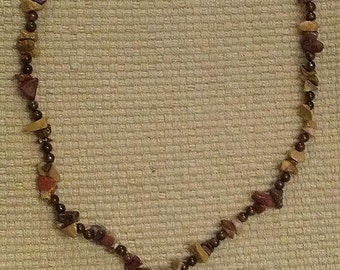 canyon: stone bead necklace featuring mookiate chips, red tigereye and carnelian, handwrapped jasper and carnelian pendant