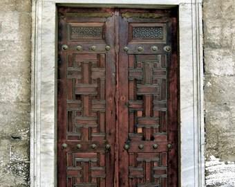 Spanish Door Photography- Door Photography, Architecture Photography, Wall Art, Wall Decor, Red and Brown Door, Spanish Decor, Door Print