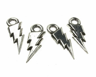 Lightning Bolt Charms,  QTY: 10 Lightning Bolt Findings - See Photos For Other Finish Options