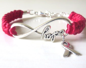 Red HOPE Awareness Ribbon Charm Bracelet Heart Disease HIV AIDS Epidermolysis Bullosa Dui Dare Optional Hand Stamped Letter Charm