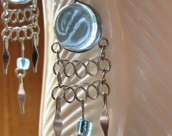 Round Blue Murano Glass Peruvian Earrings - Silver Wirework Jewelry French Wire Hooks Added