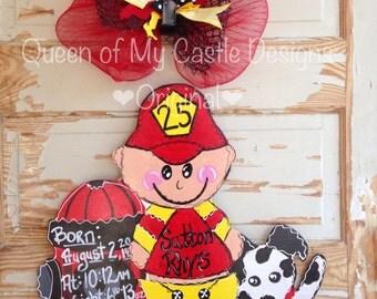 Fireman Birth Announcement Door Hanger