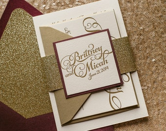 Wine & Gold Glitter Fall Wedding Invitation, Calligraphy Invitation, Burgundy Invitation - Deposit to Get Started