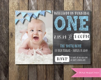 PRINTABLE Chalkboard First Birthday Invitation with Picture - 1st Birthday Invitation -  Girls Boys Birthday Party 4x6 or 5x7