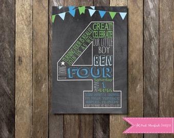 Chalkboard Fourth Birthday Invitation, 4th Birthday Invitation, Chalkboard Invitation, Digital Invitation, Blue Invitation, Pink Invitation