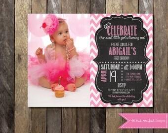 PRINTABLE Chalkboard First Birthday Invitation with Picture - Chalkboard 1st Birthday Invite -  Girls Boys Birthday Party 4x6 or 5x7