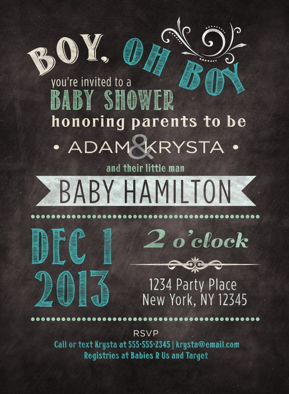 co ed optional baby boy shower invitation