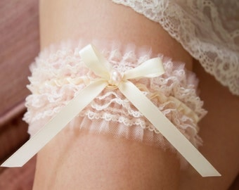 Frilly Blush Pink & Ivory Tulle Bridal Garter