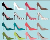 Colorful High Heel Shoes Digital Art Set – Clipart – Instant Download (BYC02)