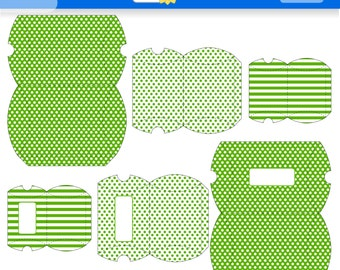 Green Printable Gift Boxes for Instant Download. PDF.  Polka Dots and Stripes Favor Box. Pillow Box