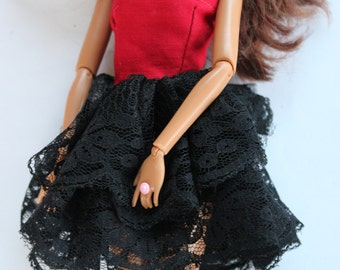 11.5 inch dolls clothes - red and black dress (88)