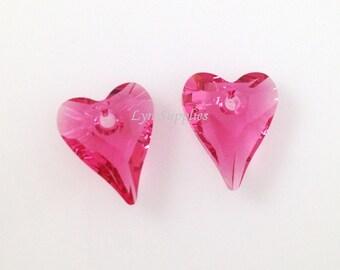 6240 Swarovski Crystal 12mm INDIAN PINK Wild Heart Pendant 2pcs Love Valentine's