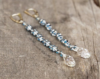 Extra long earring Swarovski crystal blue beadwork earrings Evening look  Glamour crystal jewellery High fasion jewelry Made to order