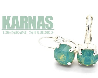 PACIFIC OPAL 8mm Crystal Chaton Drop Earrings Made With Swarovski Elements *Pick Your Metal *Karnas Design Studio *Free Shipping*