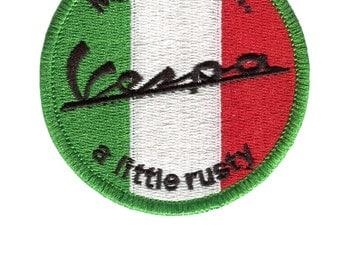"Vintage Style Vespa Patch Badge ""My Italian is a little rusty"""