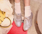 Glittered genuine leather loafers