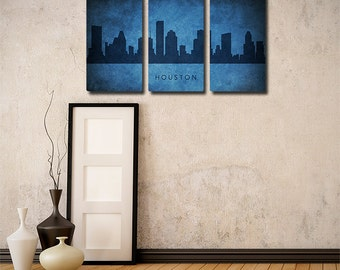 Houston Skyline Triptych