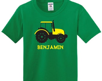 Personalized Tractor T shirt, boy tractor tee with name country farm t-shirt