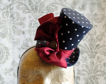 Mini Top Hatin Polka-dots with Red Bow,Rockabilly Party Mini Top Hat in Black and White,Tea-party Mini Hat -Made to Order