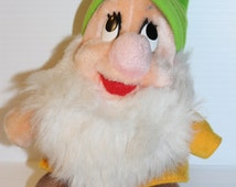 BASHFUL Stuffed Animal, vintage Plush, vintage Disneyland and Disney World Exclusive, Snow White and the Seven Dwarfs, dwarf with green hat
