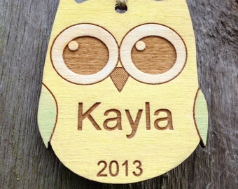 Hoot Personalized Ornament/Favor: Owl Ornament/Woodland Christmas Ornament/Woodland Baby Gift or Shower/Yellow