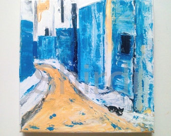In the Street Cat abstracte Acrylic Painting
