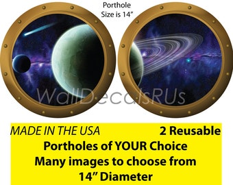 Space Decals, Outer Space Wall Decals, Porthole Window, Outer Space Stickers, Space Wall Murals,Stars Wall Decor,Planets S8S9