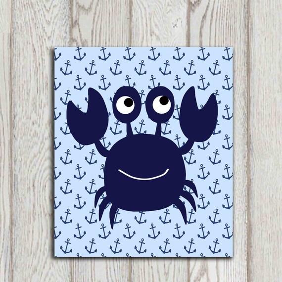 Crab Wall Art Crab Decor Navy Blue Beach Bathroom By