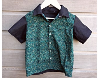 Boys retro bowling shirt / Boys birthday shirt / Funky party shirt / Boys rockabilly shirt / Made to order